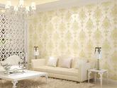 【包邮】欧式壁纸 3D墙壁纸浮雕无纺布复古墙纸满铺客厅卧室高档米黄色