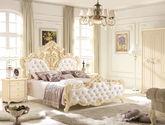 温馨钻石绒布艺 纯手工香槟色描金玫瑰花 欧洲水晶拉扣工艺 浪漫法式1.5米排骨架床