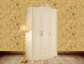 纯手工描金玫瑰花 温馨香槟色 浪漫复古拉手 100%香樟木挂衣杆 法式风格三门衣柜