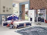 100%亚洲硬木 床底自带储物双抽抽屉 蓝色舵盘式皮艺床屏设计 现代风格1.5M儿童床