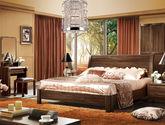 100%天然亚洲硬木 人体工学设计靠背 原始木纹 1.8米中式风格双人大床(黑胡桃木色)