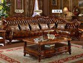 [玛龙城堡] 美式古典 豪门臻品 高档头层黄牛真皮 精美绝伦手工实木雕花 转角沙发套装(1+3+左贵妃)
