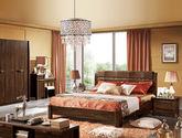 中式风格 原始风情 创意床头设计 1.8米简约高档橡胶木双人床(黑胡桃木色)