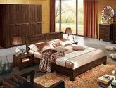天然橡胶木 微弧释压靠背 宽厚立柱式承重脚 天然清晰木纹 中式风格1.8米双人床(黑胡桃木色)