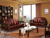 中式风格 简约经典 接触面积顶级二层真皮 上等亚洲硬木实木框架 栅栏式扶手设计沙发套装(1+2+3)黑胡桃木色