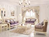 100%天然实木 吸湿透气布艺 繁复立体雕花 多脚承重 法式风格布艺沙发组合