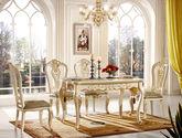 防腐防蛀橡胶木 科技皮软包 镂空雕花椅背 法式风格 无扶手餐椅