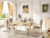 防腐防蛀橡胶木 烫金布软包 镂空雕花椅背 法式风格 无扶手餐椅