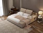高档舒适比利时高档仿羊绒面料 结构坚固实木框架 时尚大气现代风格1.5米全拆洗布艺大床(左方向)