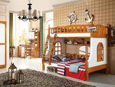 橡胶木全实木双层床 英伦风格上下床 挂梯子母床 咖啡白实木床 1.2米带书架儿童床