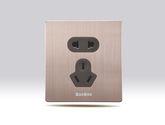 BaoBoo玫瑰金铝拉丝面板墙壁开关插座  五孔插座