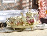 皇后玫瑰咖啡具套装 欧式茶具咖啡套具 陶瓷咖啡杯套装下午茶茶具 带托盘