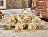 8头玫瑰咖啡杯套装 欧式茶具咖啡具英式下午茶高档陶瓷杯具带托盘