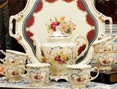 花海异域茶韵带托盘英式下午茶茶具咖啡具套装咖啡杯套装咖啡套具