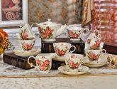 方形玫瑰咖啡杯套装 欧式茶具咖啡具套具英式下午茶高档陶瓷杯具
