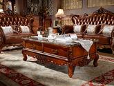 [玛龙城堡] 美式古典 至尊臻享 上等实木框架 复古纯手工雕花珍稀大理石台面茶几