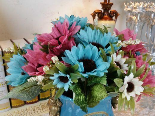 家居饰品 仿真花 花艺 瑞士向日葵 蓝色2支加粉红2支款仿真花 单束