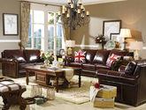 简美风格 全实木框架沙发 油蜡皮沙发组合1+2+3