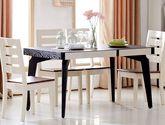 现代北欧实木 家用小户型简约火烧石玻璃长方形餐桌
