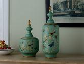 美式乡村陶瓷储物罐装饰摆件欧式家居装饰品摆设样板房家居装饰结婚礼品一对(高罐+低罐)