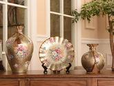 欧式陶瓷花瓶装饰摆件花瓶看盘三件套工艺品摆件创意家居装饰