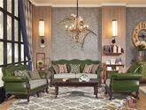 美式简约风格尊贵优雅欧洲桦木头层油腊黄牛皮时尚柳钉封边独立弹簧包皮配布组合沙发(1+2+3)