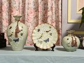 欧式陶瓷花瓶装饰摆件花瓶看盘三件套工艺品摆件创意家居软装饰 欧式三件套