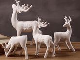 【包郵】高檔白色陶瓷鹿 櫥窗擺設道具玄關柜四小鹿