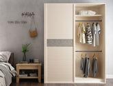 现代简约风格 百叶基材 米兰咖啡人移门衣柜定制定制衣柜定金