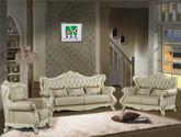 法式高档欧洲桦木玫瑰雕花皇家奢华臻品头层双色牛皮手工描绘尊贵真皮拉扣组合沙发(1+2+3)