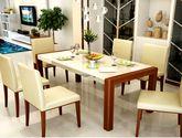 大理石 时尚小户型实木长方形可伸缩折叠饭桌