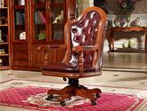 結構堅固實木框架 奢華大氣頭層紅色真皮軟包書椅