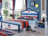 床底自带储物双抽抽屉 蓝色舵盘式皮艺床屏设计 现代风格1.2M儿童床