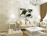 【包邮】轻奢欧式无纺布墙纸客厅卧室婚房壁纸电视背景3D深压纹浅米黄