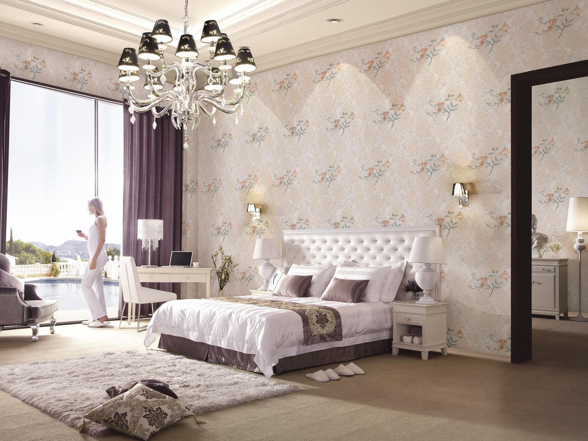 【包邮】无缝墙布 3d立体高密度刺绣 卧室电视背景墙欧式高档壁布