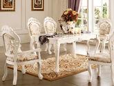 天然亚洲硬木内置 手工金鱼形雕花描银 S形芭蕾桌脚设计 欧式法式简约风格长餐桌餐台