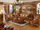 [玛龙城堡] 美式古典 豪门臻品 高档头层黄牛真皮 精美绝伦手工双面实木雕花沙发套装(1+2+3)