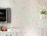【包邮】韩式田园墙纸卧室温馨 简约条纹素色小碎花客厅壁纸3D立体米白色