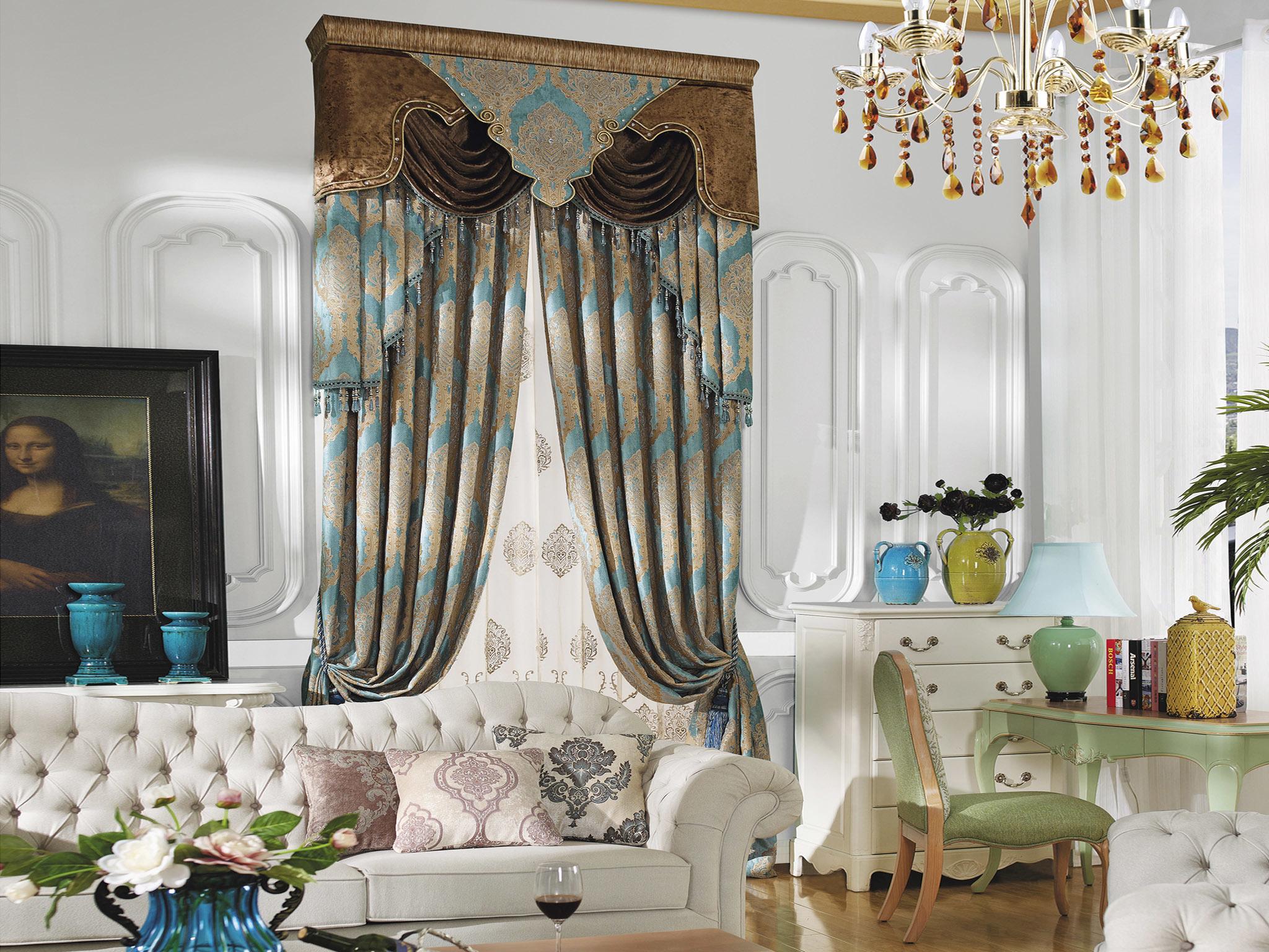 御尚居别墅高档奢华欧式窗帘布料加厚雪尼尔提花大马士革客厅卧室成品