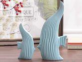 【包郵】接吻魚雙魚裝飾簡約現代陶瓷擺件藝術擺設(一對)