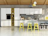 意大利進口納米亞克力門板 L型操作臺 一體化隱形拉手 檸檬黃開放柜 現代風格定制櫥柜