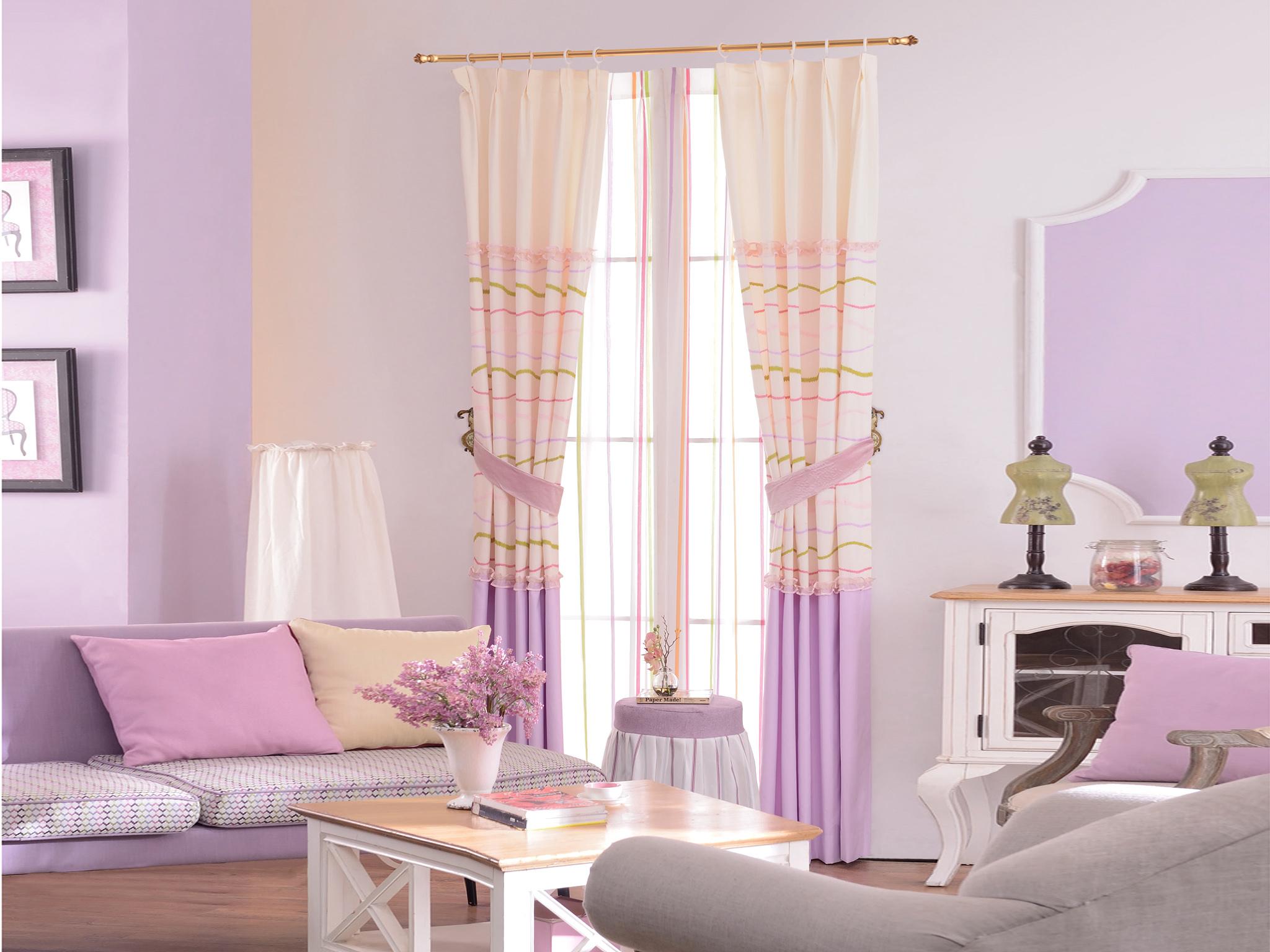 御尚居韩式可爱公主卡通儿童房半遮光窗帘布棉麻成品女孩卧室窗帘粉