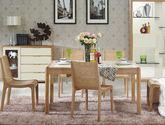 现代简约北欧实木 餐厅组合促销优惠套餐(餐桌+餐椅*6+餐边柜)