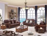 精选优质实木框架 简约大气美式风格油蜡皮沙发组合(1+2+3)