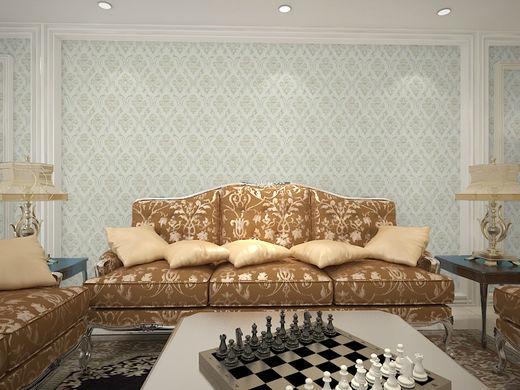 简欧轻奢壁布 卧室客厅背景墙立体欧式墙布
