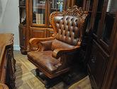 進口桃花芯木 頭層牛皮書椅 高檔實木   美式古典風格 實木