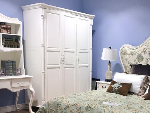 芯木 法式三门衣柜 卧室田园收纳衣柜 小户型多功能储物衣橱 香槟白