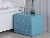 雙抽屜分區儲物 鋁合金簡約長拉手 烤漆工藝 現代風格藍色床頭柜