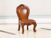 進口桃花芯木 美式古典華麗棕顏色牛皮寶寶椅