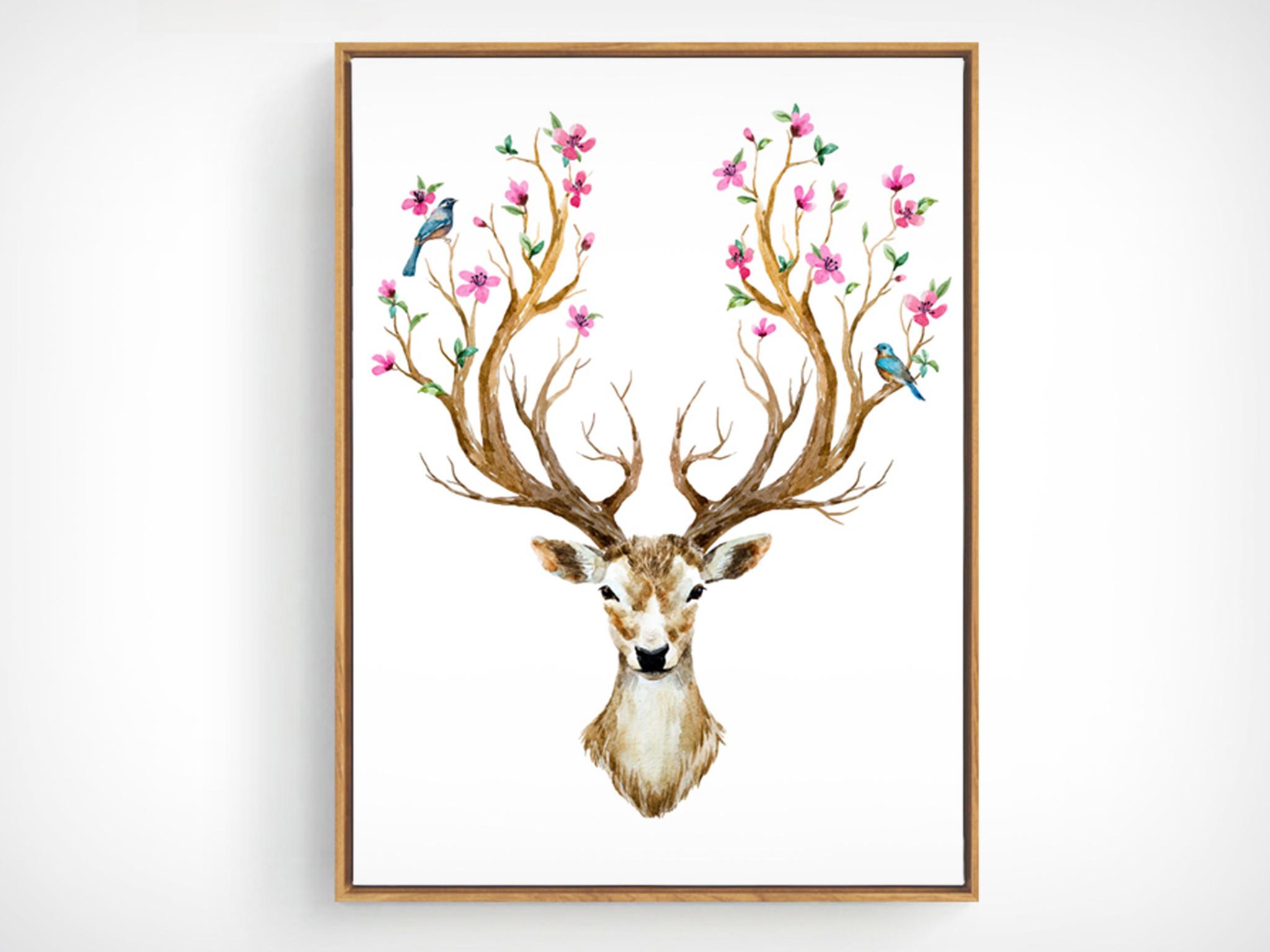 【装饰字画】北欧风格装饰画客厅沙发玄关鹿头挂画